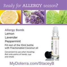 Do you suffer from seasonal allergies? I can help with that! doTERRA Essential oils can provide the chemical free relief you need. The allergy bomb is perfect to have and easy to take with you! Order today to be ready to survive allergy season. Therapeutic Essential Oils, Doterra Essential Oils, Natural Essential Oils, Young Living Essential Oils, Essential Oil Blends, Essential Oils For Congestion, Natural Oils, Essential Oils Allergies, Doterra Allergies