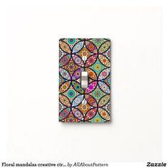 Floral mandalas creative circles art pattern light switch cover