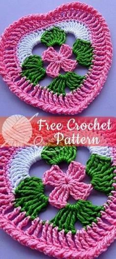 Easy Crochet Patterns Easy Crochet Granny Heart Square – Free Crochet Pattern, cannot find, but I can figure it out Crochet Edging Patterns, Crochet Motifs, Knitting Patterns, Knitting Stitches, Easy Patterns, Crochet Doilies, Square Patterns, Blanket Patterns, Pattern Ideas