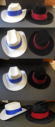6fc7fbd228b71 Dance Accessories 152358  New Lot Of 2 Cowboy Hats Black Plastic And White  Permafelt Theatrical
