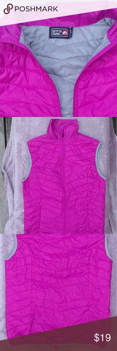 NWOT Pink Outfitter Trading Co Vest NWOT Pink vest with grey lining from Outfitter Trdng Co. Lightweight but  Great for winter and an added pop of color! Zips to top of collar. Never worn, perfect condition. Measurements are taken laid flat Total length(shoulder to hem): 27 inches Bustline: 16 1/2 inches Shoulder/top: 17 inches Collar: 8 inches Jackets & Coats Vests