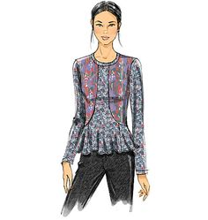 Sewing pattern from Vogue Patterns designed for knits with two-way stretch. Make this top as a solid, or pair two contrasting prints. V9128, Misses' Top