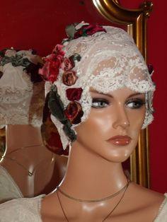 Wedding Flapper Hat  Lace 1920 style Hat Cloche White Lace Velvet Millinery Floral. $149.99, via Etsy.