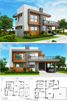 Four Bedroom House Plans, 4 Bedroom House Designs, Modern Exterior House Designs, Best Modern House Design, Best House Designs, Modern House Facades, 6 Bedroom House, Simple House Design, Modern Houses