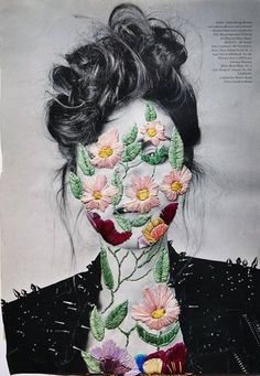 I love this image. The way they have filled in an image with embroidery opened up a whole level of inspiration for me to fill in, or outline an image using embroidery/beading techniques.