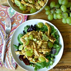 This vegan curried chicken salad brings back memories of the chicken salad my mom used to make with curry powder, grapes, and celery. Learn more by visiting www.veggiessavetheday.com, or pin and save for later!