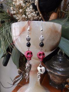 Love Attraction Red Howlite Skull Earrings