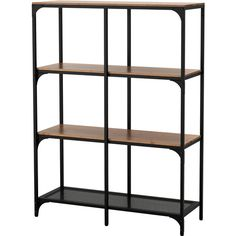 IKEA - FJÄLLBO, Shelf unit, , This rustic shelf is made of metal and solid wood which makes every piece of furniture unique.A simple unit can be enough storage for Black Shelves, Solid Wood Shelves, Rustic Shelves, Metal Shelving Units, Shelving Systems, Shelf Units, Industrial Shelves, Bookcase White, Wooden Bookcase