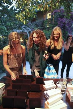 Denise Richards, Stylist Jen Rade, and Nancy O'Dell picking out SMPR client Saint Vintage jewelry at Lisa Rinna's Good Carma Birthday Party
