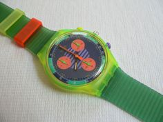 Swatch Watches  ...every loud color & design under the sun, often multiples worn on the same wrist for maxium 80's decadence/style