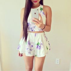 Hits: 15 white floral romper Wachabuy Source by wachabuy CLICK Image for full details Two Piece Dress, Two Piece Outfit, Mode Outfits, Casual Outfits, Hot Pink Dresses, Prom Dresses, Floral Romper, Floral Shorts, Boho Shorts