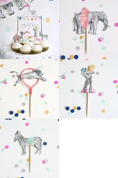 The circus tent is crafted from wire and the Ringmaster, Lion, Zebra, and Elephant are all from original pencil drawings detailed with watercolor. The decorative pieces can be used to decorate a cake or to top off a dozen cupcakes. -Wire circus tent / Ringmaster / Lion jumping through hoop / Zebra with top hat / Elephant wearing a tutu / 6 flags