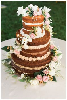 "@mikaellabridal | ""Naked"" Cake from Mikaella Real Bride Stephanie's Wedding Day - True Love Came Down_Christ Centered Weddings_Weddings Inspired by Faith_Backyard Ohio Wedding by Breanna Elizabeth Photography_0015"