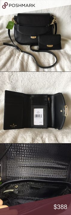 ⚡️SALE⚡️ NWT Kate Spade Set NWT! Kate Spade Black Alecia Crossbody in the Mulberry Street collection. Orig price: $359. Also NWT matching Callie wallet. Orig. price: $129. No Trades ACCEPTING REASONABLE OFFERS  kate spade Bags Crossbody Bags
