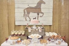 Pink Brown Vintage Ponies Birthday Party Ideas | Photo 17 of 36