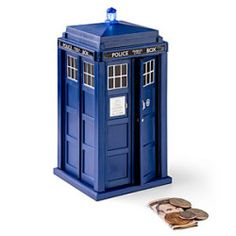 Don't worry about the TARDIS taking your money to unknown space. If you need a special way to save your coins, the Doctor Who TARDIS talking money bank may be a Doctor Who Gifts, Doctor Who Tardis, I Am The Doctor, Money Bank, Dr Who, Toy Store, Nerdy, Geek Stuff, Toys