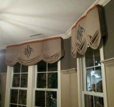 burlap valances cornices | Burlap window treatment with monogram