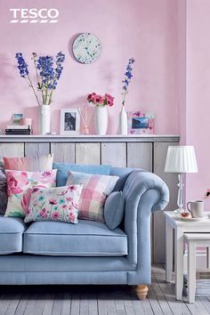 From a luxurious duck egg sofa to a chic nest of tables, our collection of pretty pastel furnishings and floral accessories are all you need to give your living space an instant lift this spring