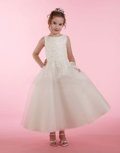 Couture-Designer Girls Dress Style 1991 - Embroidered Lace Dress with Tulle Skirt in Choice of Color Girls Designer Dresses, White Flower Girl Dresses, First Holy Communion, Embroidered Lace, Lace Dress, Tulle, Couture, Wedding Dresses, Bridesmaids