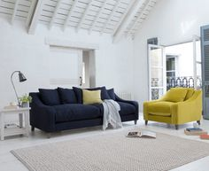 Oscar sofa in our Pitch Blue classic linen