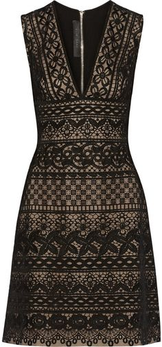 Elie Saab Black Guipure Lace And Cady Minidress