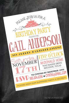 Any AGE Birthday Invitation,Wording and COLOR can be changed to anything you like, Surprise party,Adult birthday,30th Birthday, 029. $15.00, via Etsy.