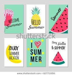 Set of Colorful summer poster with fruits, ice cream and geometric elements in memphis style background, vector Simple Canvas Paintings, Easy Canvas Painting, Summer Painting, Diy Canvas Art, Diy Painting, Summer Crafts, Diy And Crafts, Paper Crafts, Summer Poster
