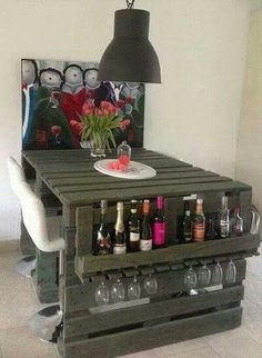 Great Idea for wine bottles & a table.