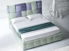 Fabric bed double bed with upholstered headboard TIFFANY by Felis High Headboard Beds, Headboards For Beds, Bed Story, Tiffany, Bedroom Bed Design, Kitchen Room Design, Double Beds, Leather Sofa, Soft Fabrics