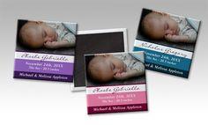 Striped Photo Birth Announcement Magnets