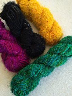 Sari silk yarn pack, 4 x 50g, eco friendly yarn, soft pure silk handspun yarn, knitting yarn, weaving yarn, silk art yarn