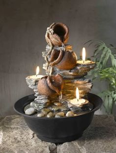 Jeco Inc. Resin/Acrylic Tavolo Luci Mini Pot Tabletop Fountain with Candle Tabletop Water Fountain, Indoor Water Fountains, Garden Fountains, Fountain Ideas, Fountain Design, Feng Shui, Weather Stones, Outdoor Waterfalls, Concrete Table Top