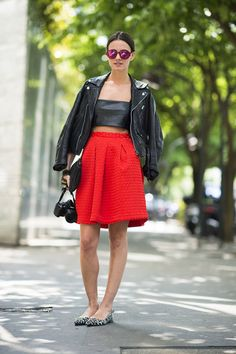 Channel your edgier Summer styling with a little leather to top off a full skirt and flats.Source: Le 21ème | Adam Katz Sinding