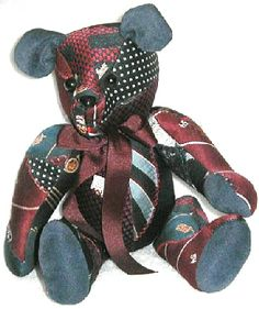 Sewing Men Projects upcycled tie bear My mom use to make bears. This would be another great project for all those silk ties I bought. Mens Ties Crafts, Tie Crafts, Quilting Projects, Quilting Designs, Sewing Projects, Necktie Quilt, Old Ties, Diy Projects For Men, Memory Crafts