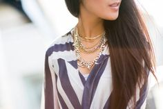 Stripes and a statement necklace