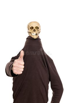 Hidden Man With Witty Skull On His Head, Thumbs Up Stock Photo - Image of figure, body: 47048770 Draw The Squad, Drawing Reference, Memes, Funny Images, Haha, Weird, Give It To Me, Skull, Stock Photos