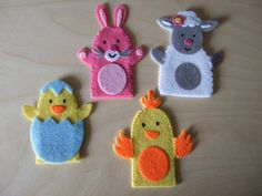 finger puppets for spring | Felt Finger Puppets Spring Animals. Rabbit, Baby Chick, Mummy Chicken ...
