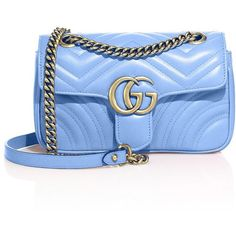 Gucci GG 2.0 Mini Quilted Leather Shoulder Bag (€1.420) ❤ liked on Polyvore featuring bags, handbags, shoulder bags, gucci, mini shoulder bag, blue shoulder handbags, blue handbags, mini handbags and mini purse