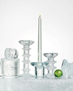 The brilliant beauty of icy glass pieces is perfect for this time of year -- and proof of the clear genius of midcentury Scandinavian design. Martha Stewart Home, Mid Century Modern Decor, Glass Candlesticks, Crystal Design, Home Design Decor, White Candles, Scandinavian Modern, Glass Collection, Glass Art