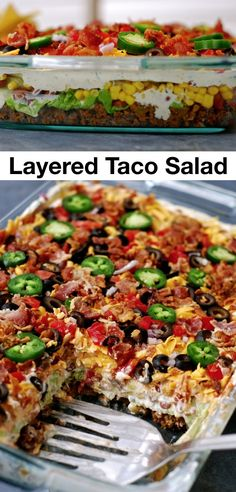 Layered Taco Salad Recipe Layered Taco Salad Recipe,Amazing Food Recipes Layered Taco Salad– great for potlucks or even dinner! This easy meal is sure to please. Everyone will be asking you for the recipe! Taco Salad Recipes, Beef Recipes, Cooking Recipes, Healthy Recipes, Recipe For Taco Salad, Taco Salad Bar, Cobb Salad, Potluck Salad, Potluck Dinner