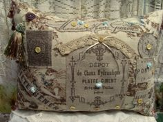 French Antique Lace & Roses Linen Collage Pillow-French, Antique, Lace, Roses, Linen, Collage, Pillow, Victorian, France, Buttons, Rach...
