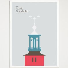 Vanto Works Iconic Stockholm Poster - City Hall: Stockholm's town hall is one of the most iconic buildings in the city with its high tower over 100 metres tall and perfect location right by the water.   Politicians and officials have the building as their workplace, although the City Hall does not only accommodate offices and workplaces, but also grand ballrooms and meeting rooms. Among other things, the Nobel banquet takes place there every year.  Helsinki designer Jaakko Vanto features the…