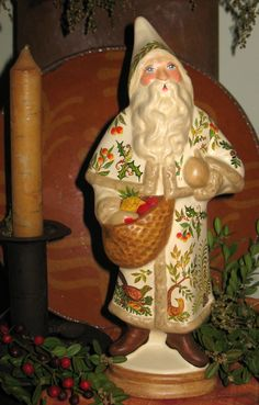 Chalkware Belsnickle Santa from an antique German chocolate mold bittersweethouse.com