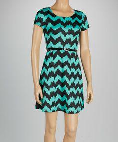 Look at this #zulilyfind! Jade & Black Zigzag Belted A-Line Dress by Star Vixen #zulilyfinds