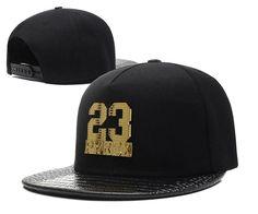Men's Pyrex Number 23 Gold Metal Logo Faux Croco Leather Print Visor Hip Hop Snapback Hat - Black