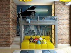 Pokój dla nastolatka, pokój dziecięcy, pokój młodzieżowy, Angry Birds, Batman. Zobacz więcej na: https://www.homify.pl/katalogi-inspiracji/14966/pokoj-mlodziezowy-inspiracje-i-aranzacje