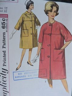Classic Fashion Coat Lined Kimono Sleeves Vintage Outerwear Fashion Simplicity 4813 Pattern Size 12 Cool Patterns, Vintage Patterns, Sewing Patterns, Classic Fashion, Classic Style, Vintage Fashion, Fashion Coat, Fashion Patterns, Costume Patterns