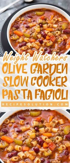 Olive Garden Slow Cooker Pasta Fagioli Recipe MEALS No one knows Weight loss meals like we do - With these recipes it's now easier and healthy tastier than ever before to stay on track with your HEALTHY goals. Olive Garden Slow Cooker Pasta Fagioli R Healthy Crockpot Recipes, Ww Recipes, Slow Cooker Recipes, Soup Recipes, Cooking Recipes, Recipies, Healthy Food, Dinner Recipes, Dinner Dishes