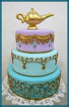 By Sula Miranda Jasmine Birthday Cake, Aladdin Birthday Party, Aladdin Party, 5th Birthday, Arabian Party, Arabian Nights Party, Princess Jasmine Cake, Jasmin Party, Themed Birthday Parties