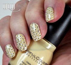 """Lola's Dotted Lattice Mani: Sinful Colors """"Unicorn"""", OPI """"Alpine Snow"""" dots with Bundle Monster BM19, Deborah Lippmann """"Waking Up in Vegas"""" with Cheeky CH11 lattice, hand-dotted centers.  Inspiration Credit:  Jennifer Stalnaker"""